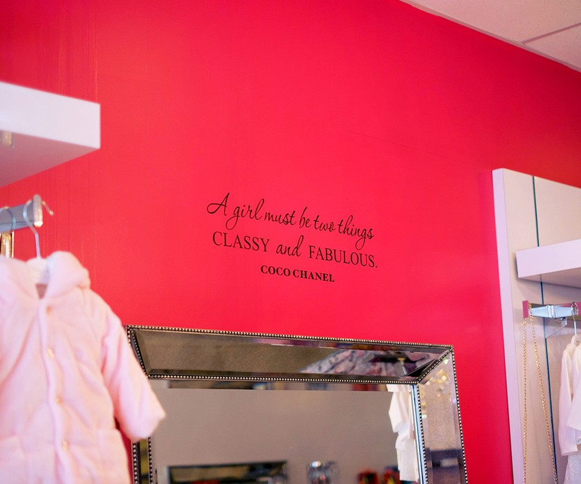 Coco Chanel quote on wall